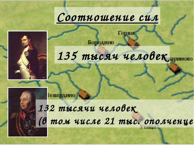 Соотношение сил 135 тысяч человек 132 тысячи человек (в том числе 21 тыс. опо...