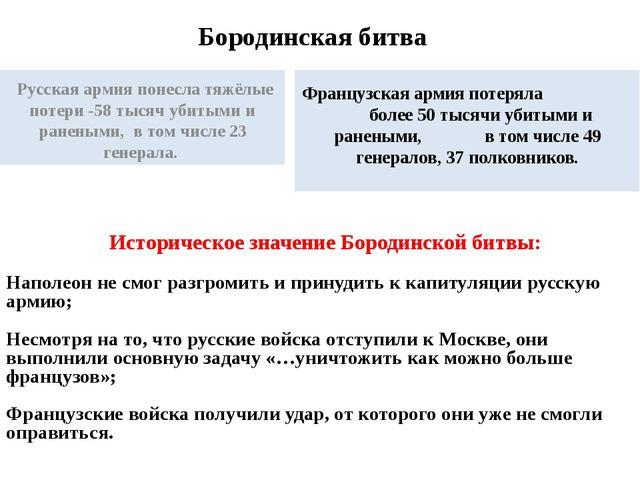 Бородинская битва Русская армия понесла тяжёлые потери -58 тысяч убитыми и ра...