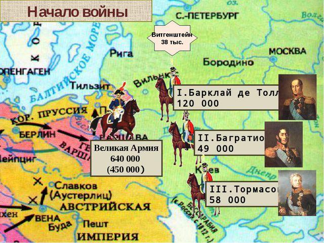 Начало войны Витгенштейн 38 тыс. Великая Армия 640 000 (450 000) III.Тормасо...
