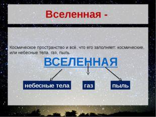 Вселенная - Космическое пространство и всё, что его заполняет: космические, и