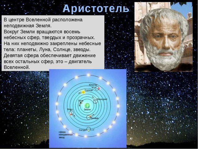 Аристотель В центре Вселенной расположена неподвижная Земля. Вокруг Земли вра...