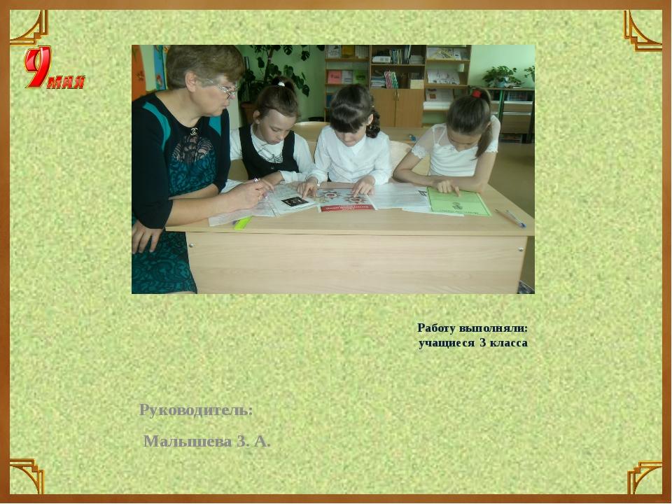 Работу выполняли: учащиеся 3 класса Руководитель: Малышева З. А.