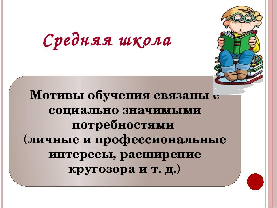 Средняя школа Мотивы обучения связаны с социально значимыми потребностями (ли...