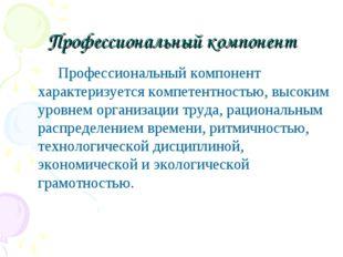 Профессиональный компонент Профессиональный компонент характеризуется компете