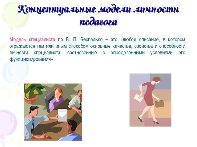 Концептуальные модели личности педагога Модель специалиста по В. П. Беспальк...
