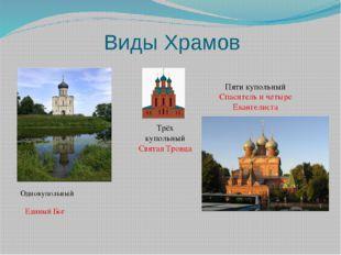 Виды Храмов Трёх купольный Святая Троица Пяти купольный Спаситель и четыре Ев