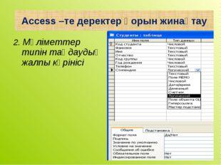 2. Мәліметтер типін таңдаудың жалпы көрінісі Access –те деректер қорын жинақтау
