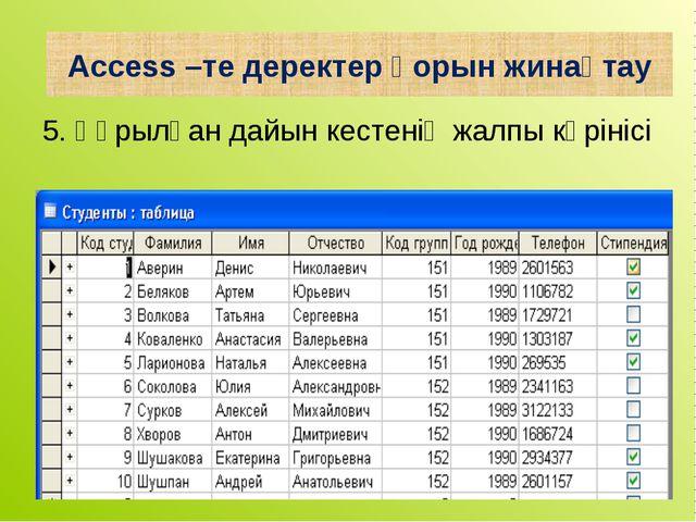 5. Құрылған дайын кестенің жалпы көрінісі Access –те деректер қорын жинақтау