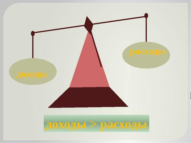 расходы доходы доходы > расходы