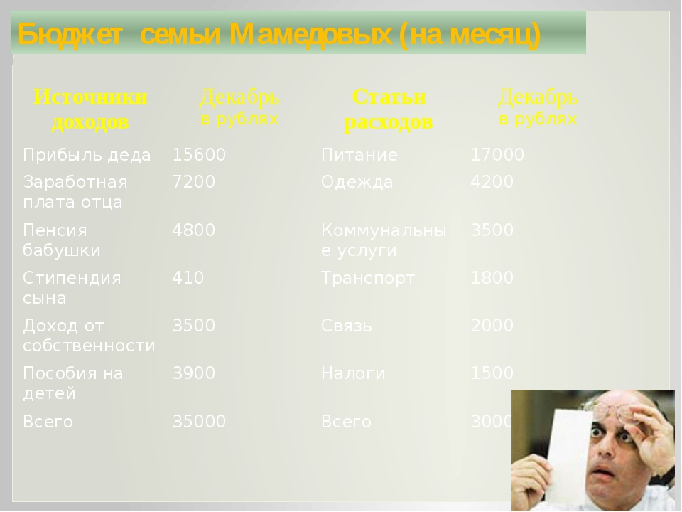 Бюджет семьи Мамедовых (на месяц) Источники доходов Декабрь врублях Статьи ра...