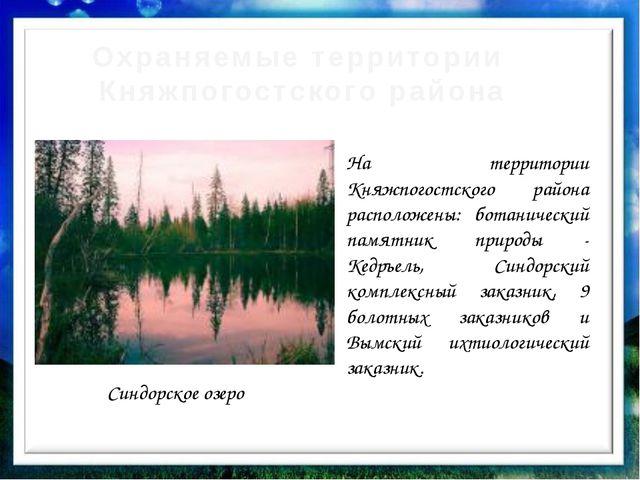 Охраняемые территории Княжпогостского района Синдорское озеро На территории К...