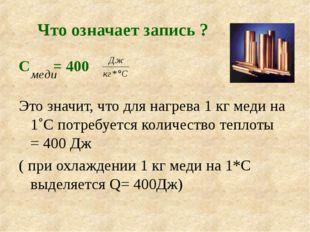 Что означает запись ? С = 400 Это значит, что для нагрева 1 кг меди на 1˚С по
