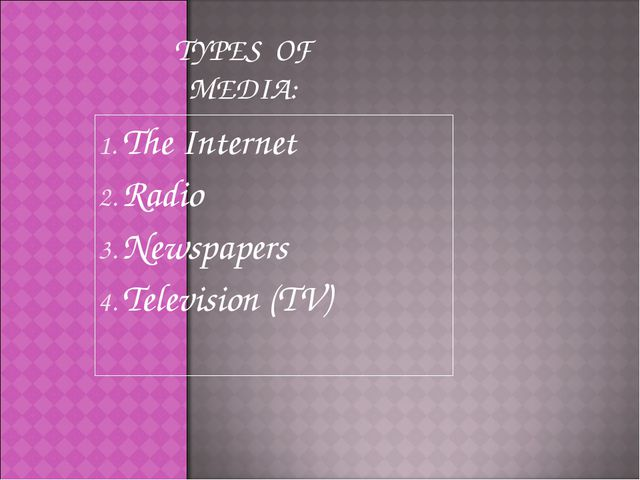 The Internet Radio Newspapers Television (TV) TYPES OF MEDIA: