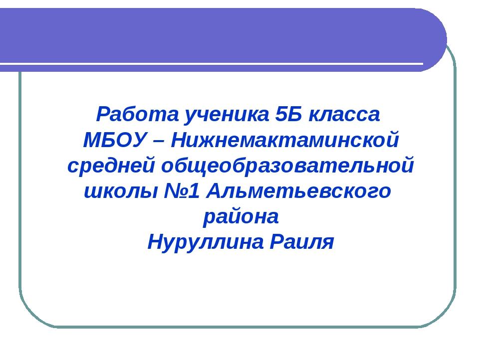 Работа ученика 5Б класса МБОУ – Нижнемактаминской средней общеобразовательной...
