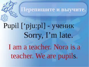 Pupil ['pju:pl] - ученик Sorry, I'm late. Перепишите и выучите. I am a teache