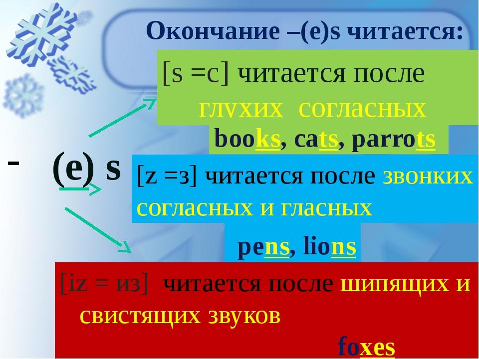 Окончание –(e)s читается: (е) s [s =с] читается после глухих согласных books,...