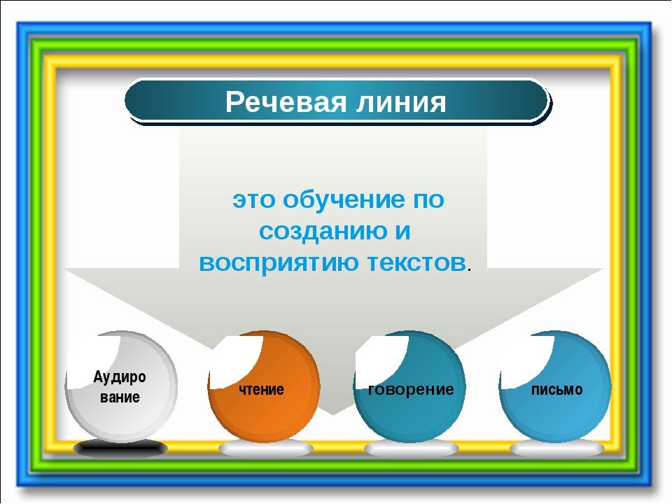 Речевая линия это обучение по созданию и восприятию текстов.