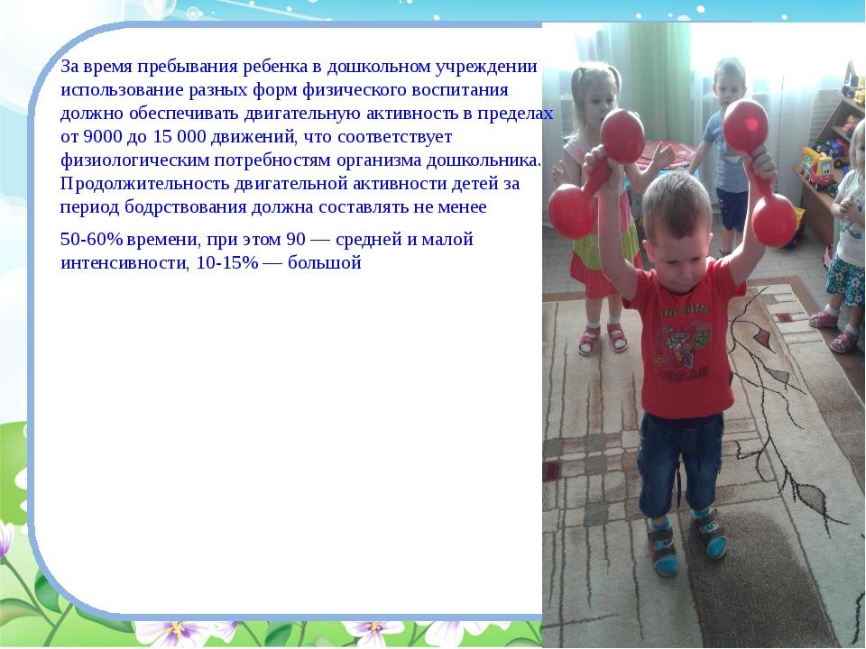 За время пребывания ребенка в дошкольном учреждении использование разных фор...