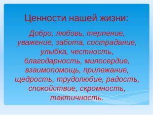 Ценности нашей жизни: Добро, любовь, терпение, уважение, забота, сострадание,