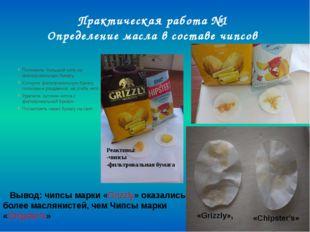 Практическая работа №1 Определение масла в составе чипсов Положила большой чи