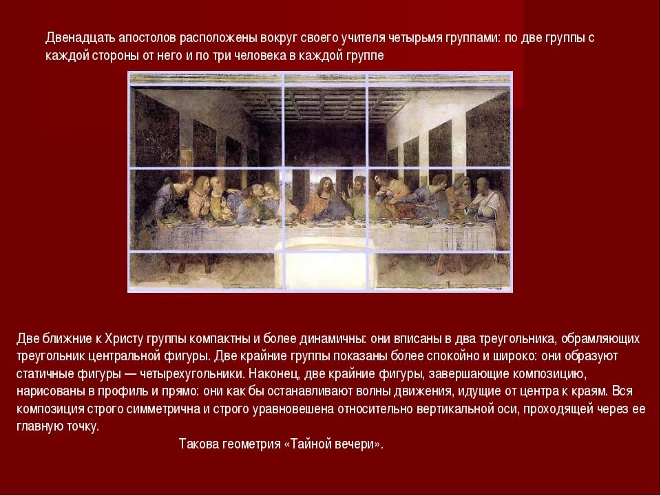 Двенадцать апостолов расположены вокруг своего учителя четырьмя группами: по...