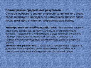 Планируемые предметные результаты: Систематизировать знания о правописании мя