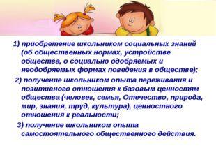 1) приобретение школьником социальных знаний (об общественных нормах, устройс