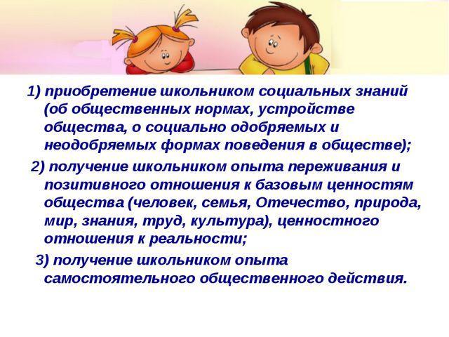 1) приобретение школьником социальных знаний (об общественных нормах, устройс...