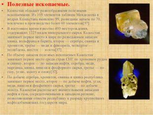 Полезные ископаемые. Казахстан обладает разнообразными полезными ископаемыми.