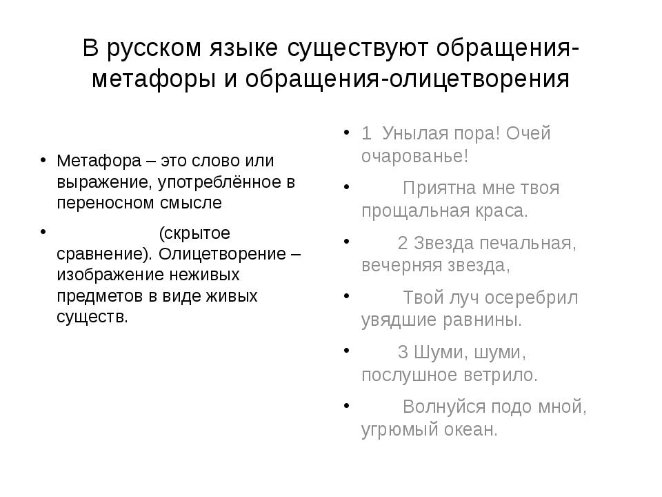В русском языке существуют обращения-метафоры и обращения-олицетворения Метаф...