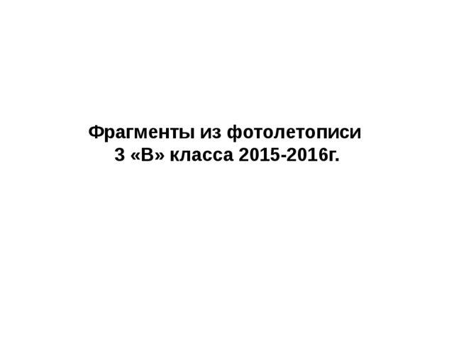 Фрагменты из фотолетописи 3 «В» класса 2015-2016г.