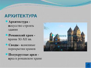 АРХИТЕКТУРА Готический храм - архитектурный стиль XII-XV вв. Стрельчатые арки