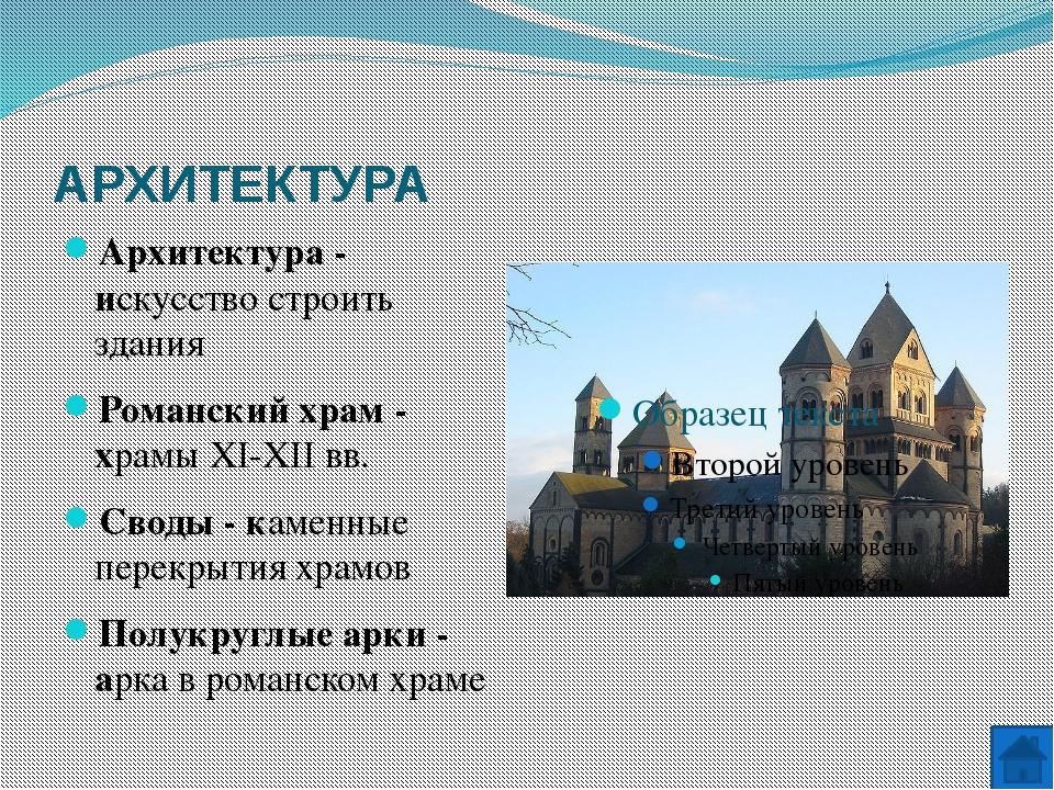АРХИТЕКТУРА Готический храм - архитектурный стиль XII-XV вв. Стрельчатые арки...