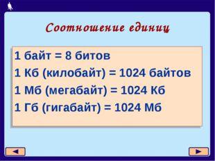 Соотношение единиц 1 байт = 8 битов 1 Кб (килобайт) = 1024 байтов 1 Мб (мегаб