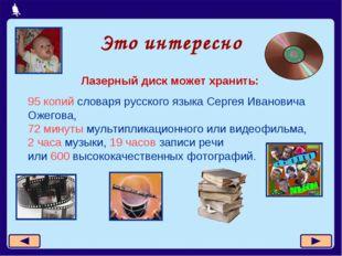 Это интересно Лазерный диск может хранить: 95 копий словаря русского языка Се