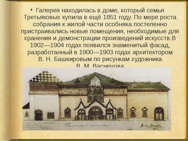 Галерея находилась в доме, который семья Третьяковых купила в ещё 1851 году....