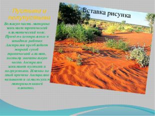 Пустыни и полупустыни Большую часть материка занимает тропический климатическ