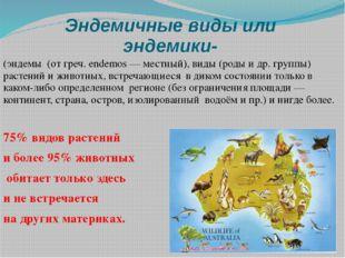Эндемичные виды или эндемики- (эндемы (от греч. endemos — местный), виды (ро