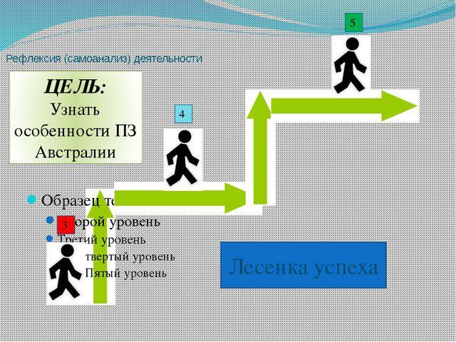 Лесенка успеха Рефлексия (самоанализ) деятельности 3 4 5 ЦЕЛЬ: Узнать особенн...