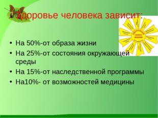 Здоровье человека зависит: На 50%-от образа жизни На 25%-от состояния окружаю