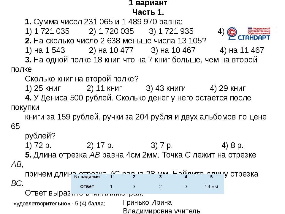 Контрольная работа №2 по теме «Сложение и вычитание натуральных чисел ». 1 ва...