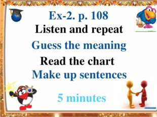 Read the chart Listen and repeat Guess the meaning Make up sentences Ex-2. p