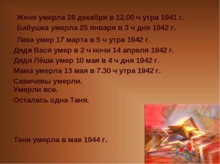 Женя умерла 28 декабря в 12.00 ч утра 1941 г. Бабушка умерла 25 января в 3 ч