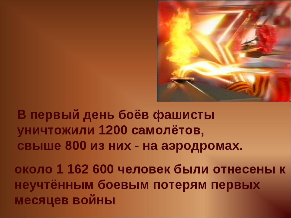 В первый день боёв фашисты уничтожили 1200 самолётов, свыше 800 из них - на а...