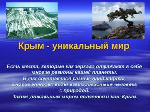Крым - уникальный мир Есть места, которые как зеркало отражают в себе многие