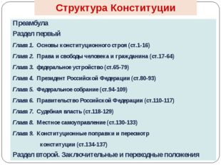 Структура Конституции Преамбула Раздел первый Глава 1. Основы конституционног