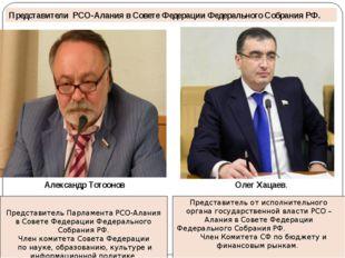 Представитель Парламента РСО-Алания в Совете Федерации Федерального Собрания