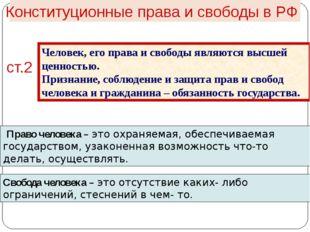 Конституционные права и свободы в РФ ст.2 Человек, его права и свободы являю