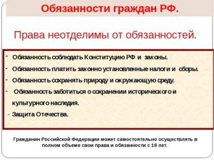 Обязанности граждан РФ. Права неотделимы от обязанностей. Обязанность соблюда