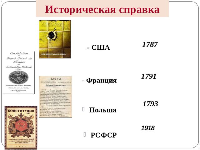 Историческая справка - США - Франция Польша РСФСР 1787 1791 1793 1918